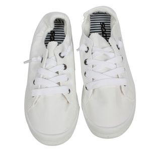 Size 11 White Lace Up Stretchy Back Sneakers